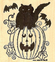 Cat On Jack & Bats Halloween, Wood Mounted Rubber Stamp NORTHWOODS - NEW, M8117