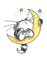 Cat On The Moon, Wood Mounted Rubber Stamp PENNY BLACK - NEW, 3207H