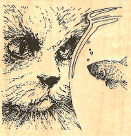Cat With Fish Bowl Wood Mounted Rubber Stamp Impression Obsession NEW