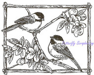 Chickadees Apple Blossom Frame Wood Mounted Rubber Stamp NORTHWOODS P8414 New