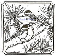 Chickadees On Pine Birds Wood Mounted Rubber Stamp Northwoods Rubber Stamp New