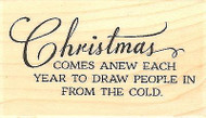 Christmas Anew Text, Wood Mounted Rubber Stamp IMPRESSION OBSESSION -NEW, C13228