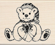 Christmas Bear With Heart Wood Mounted Rubber Stamp by Inkadinkado NEW