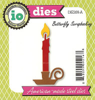 Christmas Candle American made Steel Dies by Impression Obsession DIE208-A New