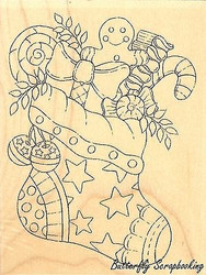 Christmas Candy Stocking Wood Mounted Rubber Stamp IMPRESSION OBSESSION F16047