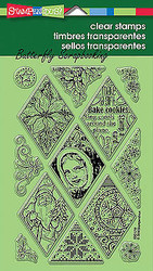 Christmas Diamonds Clear Unmounted Rubber Stamps Set Stampendous SSC1210 NEW