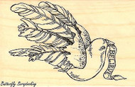 Christmas Dove Believe Ribbon, Wood Mounted Rubber Stamp STAMPENDOUS, NEW - P237