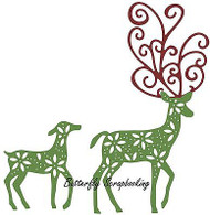 CHRISTMAS Fancy Deer Dies Steel Die Cutting Dies CHEERY LYNN DESIGNS B485 New