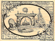CHRISTMAS Fireside Ivy Christmas Wood Mounted Rubber Stamp STAMPENDOUS R211 NEW