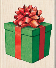 Christmas Gift Box With Bow Wood Mounted Rubber Stamp Inkadinkado Tim Coffey NEW