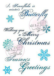 Christmas Greeting Snowflake Unmounted Rubber Stamps Wild Rose Studio #CL459 New