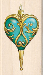 Christmas Heart Ornament Wood Mounted Rubber Stamp Inkadinkado Tim Coffey NEW