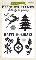 Christmas Holidays Clear Unmounted Rubber Stamps Set Echo Park  EPSTAMP12 New