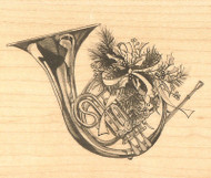 CHRISTMAS Holly Ribbon French Horn Wood Mounted Rubber Stamp by Inkadinkado NEW
