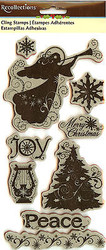 Christmas Joy Peace Angel Unmounted Cling Rubber Stamp Set by Recollections New