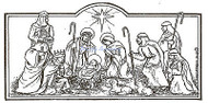 Christmas Nativity Scene Rectangle, Wood Mounted Rubber Stamp NORTHWOODS - O9253
