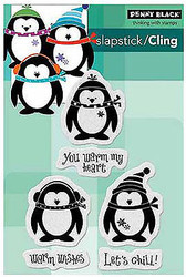 Christmas Penguins Chill Set 6 Unmounted Rubber Stamps PENNY BLACK 40-353 New