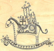 Christmas Rocking Horse Wood Mounted Rubber Stamp Impression Obsession J10009NEW