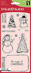 Christmas Set Clear Unmounted Rubber Stamp Set 13 Stamp INKADINKADO 60-31237 NEW