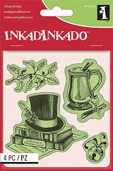 Christmas Set Cling Unmounted Rubber Stamp Set 4 Stamps INKADINKADO 60-60340 NEW
