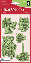 Christmas Set Cling Unmounted Rubber Stamp Set 5 Stamps INKADINKADO 60-60336 NEW
