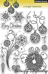 CHRISTMAS Stamp Set Clear Unmounted Rubber Stamp Set PENNY BLACK 30-130 New