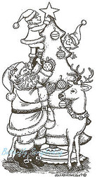 Christmas Tree Santa Elves Wood Mounted Rubber Stamp Northwoods Stamp O6324 New