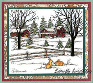 CHRISTMAS WINTER HOUSE Scene Wood Mounted Rubber Stamp NORTHWOODS P9910 New