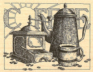 Coffee Sunrise Scene, Wood Mounted Rubber Stamp IMPRESSION OBSESSION -NEW, H1834