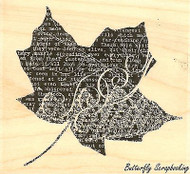 Collage Leaf #4, Wood Mounted Rubber Stamp IMPRESSION OBSESSION - NEW, E13061