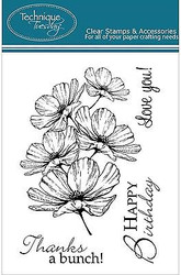 COSMO FLOWERS Stamp Set Clear Unmounted Rubber Stamps TECHNIQUE TUESDAY New