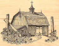 Country Barn with Flowers Wood Mounted Rubber Stamp Impression Obsession NEW