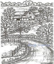 Country Farmhouse Barn & Road Wood Mounted Rubber Stamp Northwoods New P9113