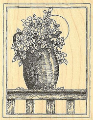 Country Flower Pitcher Wood Mounted Rubber Stamp Impression Obsession G1858 NEW
