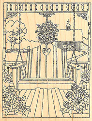 Country Porch Swing Wood Mounted Rubber Stamp Impression Obsession H1862 NEW