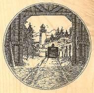 Covered Bridge Lighthouse Wood Mounted Rubber Stamp Impression Obsession NEW