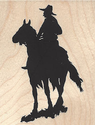 Cowboy Silhouette, Wood Mounted Rubber Stamp IMPRESSION OBSESSION - NEW, E13152