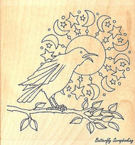 Crow & Moon, Wood Mounted Rubber Stamp IMPRESSION OBSESSION - NEW, E2360