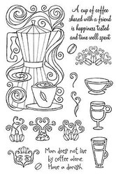 Cup Of Coffee With Friends Unmounted Rubber Stamps Set Impression Obsession NEW
