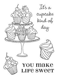Cupcakes Make Life Sweet Clear Unmounted Stamps Set Impression Obsession New