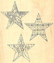 Decorative Stars Wood Mounted Rubber Stamp Leigh Hannan Impression Obsession NEW