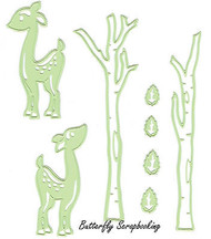 Deer & Trees 8 Dies Steel Craft Cutting Dies by Lea'bilities 45.8930 New
