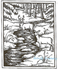 Deer In The Stream Frame Wood Mounted Rubber Stamp Northwoods Rubber Stamp New