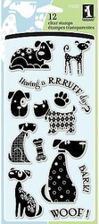 DOG DOGS WOOF Clear Unmounted Rubber Stamp Set INKADINKADO 97620 NEW