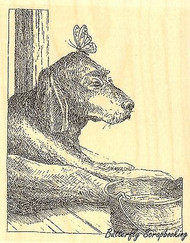 Dog With Butterfly, Wood Mounted Rubber Stamp IMPRESSION OBSESSION - NEW, H1978