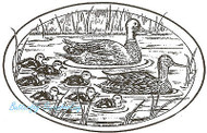 Ducks Mallard Family Oval Wood Mounted Rubber Stamp Northwoods Rubber Stamp New