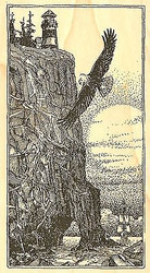 EAGLE LIGHTHOUSE CLIFF Wood Mounted Rubber Stamp Impression Obsession J2507 NEW