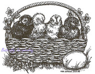 Easter Basket of Chicks Wood Mounted Rubber Stamp NORTHWOODS M9415 New