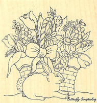 Easter Bunny Basket Wood Mounted Rubber Stamp Impression Obsession F16005 NEW