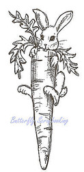 Easter Bunny with Carrot Wood Mounted Rubber Stamp NORTHWOODS J6465 New